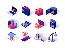 Financial Management Isometric Icons Set. Credit Card, ATM Terminal, Wallet, Piggy Bank, Calculator And Bank Safe. Money Saving, Banking And Investment, Calculation And Accounting 3d Vector Isometry.