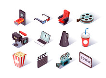 Movie Production Isometric Icons Set. Filmmaking Industry, Video Camera, Clap Board, Cinema Strip And Megaphone. Cinema Entertainment, Popcorn, Online Ticket, Soda And 3d Glasses 3d Vector Isometry.