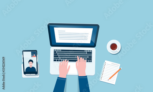 Fototapeta flat vector work from home workplace concept and business smart working online connect anywhere  concept obraz