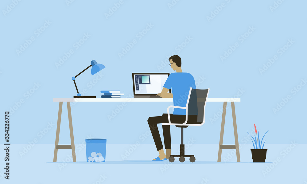 Fototapeta flat vector work from home workplace concept and business smart working online connect anywhere  concept
