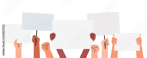Fotografía Vector illustration of people holding signs, banner and placards on a protest demostration or picket