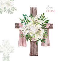 Hand Drawn Watercolor Floral Cross And White Lily Arrangement. Religious Decorative Wreath With Spring Flowers, Green Foliage, Isolated On White Background. Easter Holiday Decor Illustration.