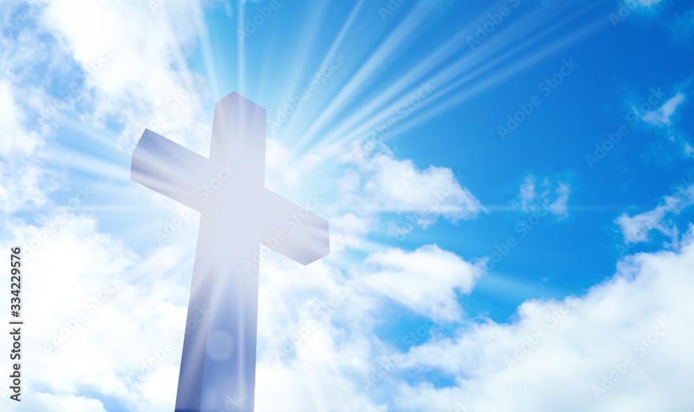 Fototapeta Silhouette of cross against blue sky. Christian religion