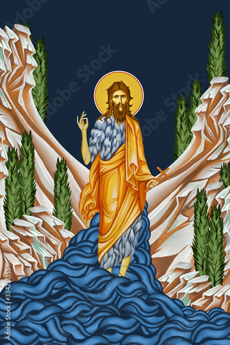 Canvastavla John the Baptist. Illustration in Byzantine style