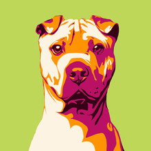 Illustration Dog In Pop Art S...