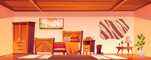 Cowboy Bedroom Interior With Bed, Wardrobe And Hat On Nightstand. Vector Cartoon Illustration Of Empty Room In Rural House In Wild West, Western Ranch With Bull Skin On Wall And Wooden Furniture
