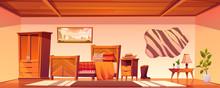 Cowboy Bedroom Interior With B...