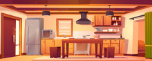 Kitchen Interior In Rustic House With Wooden Furniture And Cooking Appliances. Vector Cartoon Empty Cuisine In Western Country Style With Fridge, Microwave, Stove And Vintage Dining Table
