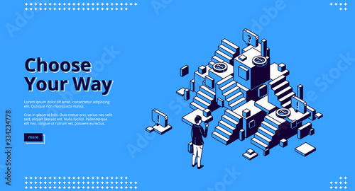 Fotomural Choose your way isometric landing page