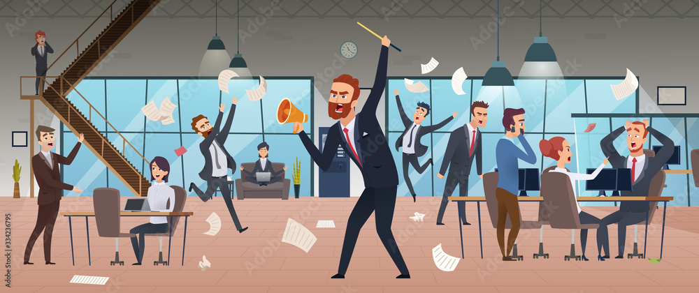 Fototapeta Angry boss. Businessman screaming in office chaos deadline stress managers working and running vector concept background. Businessman angry, man boss burnout, stress employee illustration