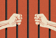 Behind The Bars. Two Hands Arms Holding The Bars. Imprisonment, Deprivation Of Liberty Concept. Vintage Styled Vector Illustration