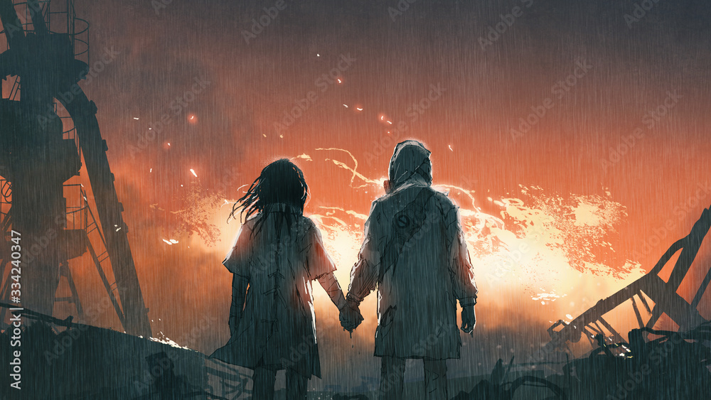 Fototapeta We'll get through this together, lovers holding hands looking at fire flames in the rainy night, digital art style, illustration painting
