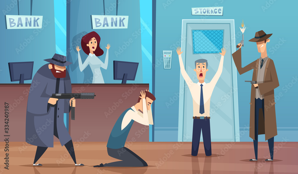 Fototapeta Robbery bank. Masked bandit gangster robbery money cash bad security service vector cartoon background. Bank robbery, crime robber, bandit and thief illustration
