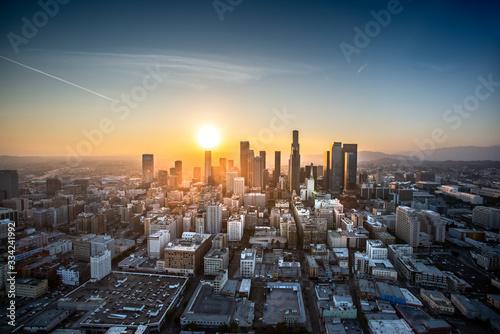 Fototapeta Aerial view of Los Angeles at sunset obraz