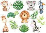 Fototapeta Fototapety na ścianę do pokoju dziecięcego - big watercolor set of tropical animals and leaves on white background