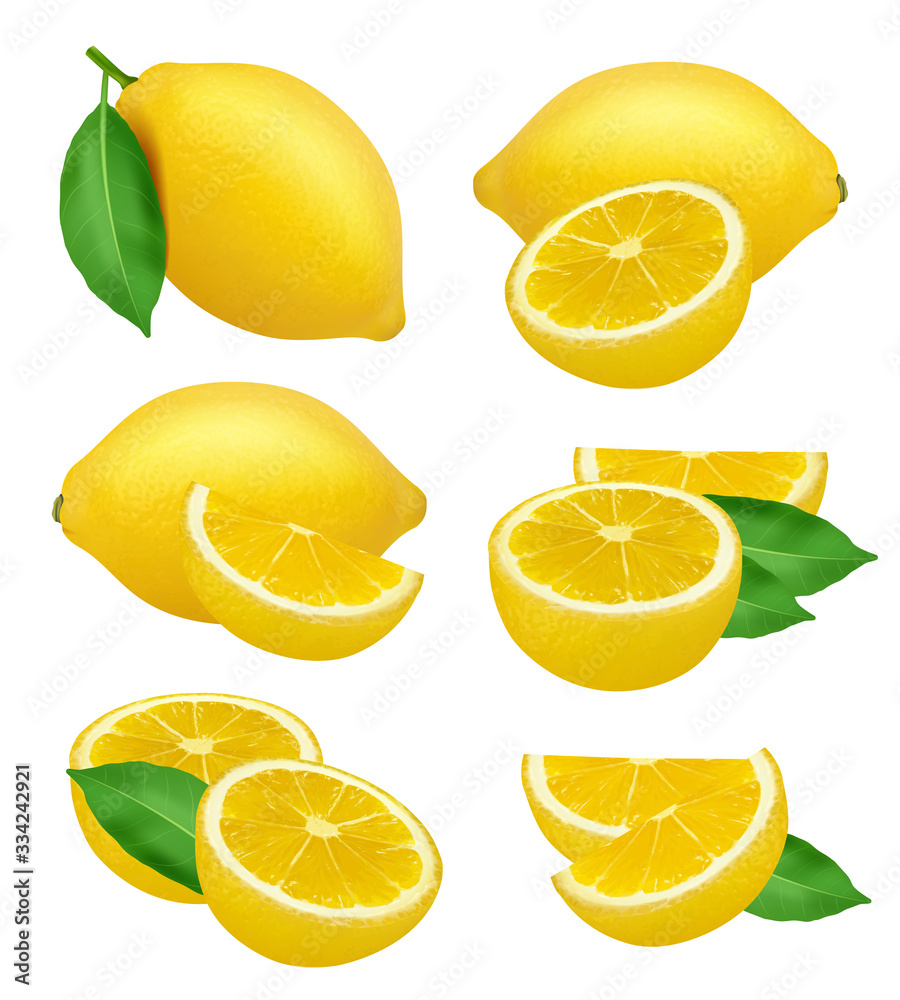 Fototapeta Lemons realistic. Fruits slices citrus natural products yellow vector natural food lime. Illustration lemon fruit and citrus tropical vitamin C