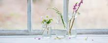 Spring Flowers In Jars On Old ...