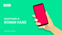 Female Hand Shows Smartphone W...