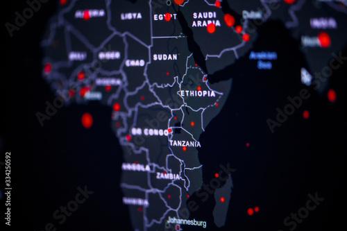 Fototapeta Africa. Coronavirus COVID-19 global cases Map. World map on monitor display. obraz
