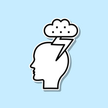 Head, Cloud, Thunder Sticker I...