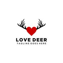 Creative Illustration Modern Deer Antlers Logo Design With Heart Sign Template Vector