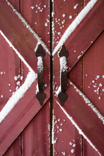 Old Red Barn Doors With Snow