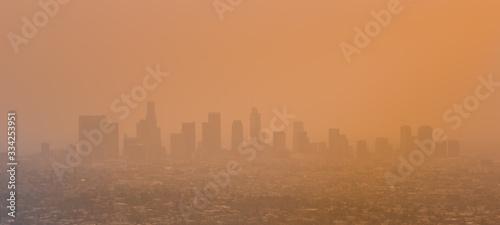 Fényképezés Los Angeles Skyline With Smog and Smoke