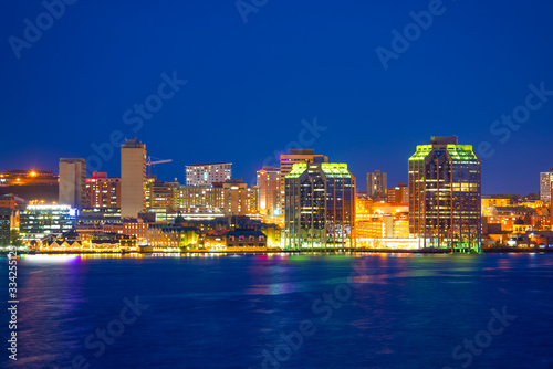 Photo Halifax City skyline at night from Dartmouth waterfront, Nova Scotia NS, Canada