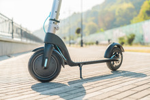 Electric Scooter Like Modern Technology For Young People. Ecological Transport In City.