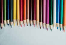 Flattened Colored Pencils On W...