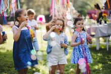 Small Children Outdoors In Gar...