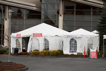 External Hospital Tents, In A Hospital Parking Lot, Preparing For In-coming Patients.