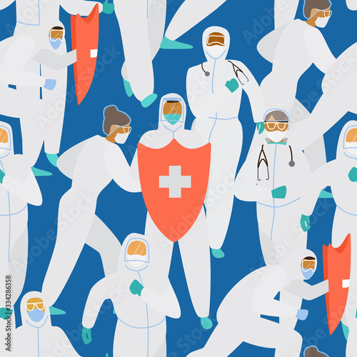 Doctors in protective overalls and masks with red shield saving the world seamless pattern. Coronavirus fighters. Flat vector illustration. Wall mural