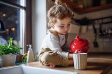 Cute Small Toddler Girl Sittin...