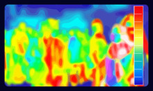 Illustration Vector Graphic Of Thermal Image Scanning For Influenza Border Screening And Check People Who Come From Overseas In Airport. Coronavirus Spread Control. Infrared Color Scale.