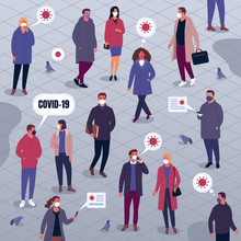 Life During Coronavirus. Vector Illustration Of Large Multiethnic Group Of People In Casual Clothes And Medical Masks Walking Down The Street With Thoughts Of Covid-19. Isolated On Background