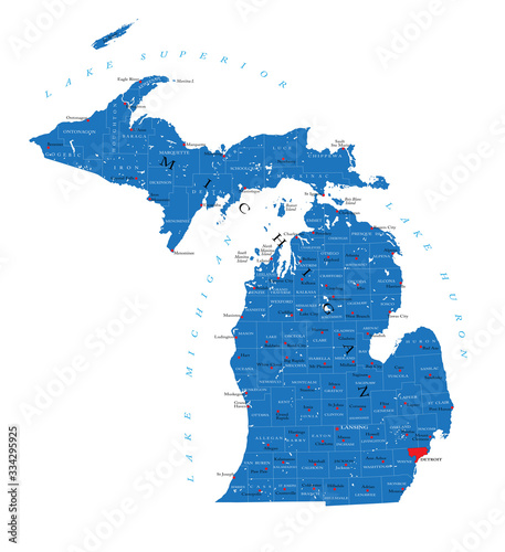 Photo Michigan state political map