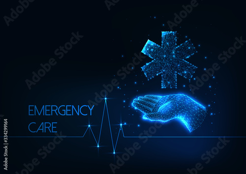 Futuristic Emergency care concept with low polygonal human hand holding medical Wallpaper Mural