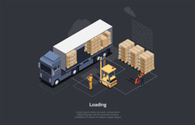 Isometric Warehouse Work Process Concept. On Time Delivery Home And Office. Delivery Truck, Forklift For Loading Pallets, Workers Control Process Of Loading And Unloading Cargo. Vector Illustration
