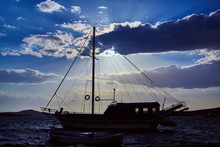 Sailing Ship On Sea View On Su...