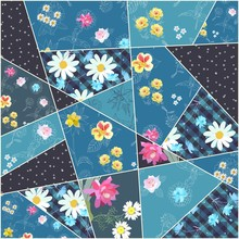 Patchwork Pattern With Floral Patches. Beautiful Design For Square Cushion.