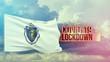 Coronavirus outbreak and coronaviruses influenza lockdown concept with flag of the states of USA. State of Massachusetts flag Pandemic 3D illustration.
