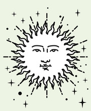Vector Illustration Of Sun Wit...