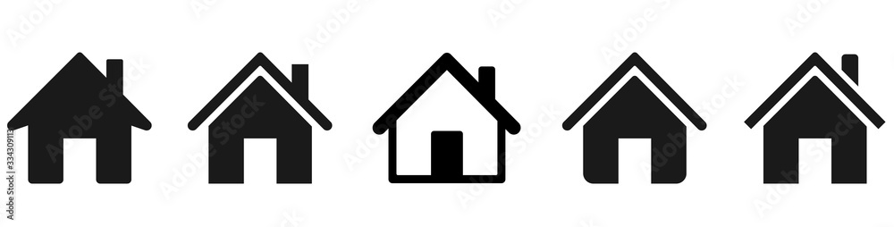 Fototapeta House icons set. Home icon collection. Real estate. Flat style houses symbols for apps and websites on whitr background - stock vector.