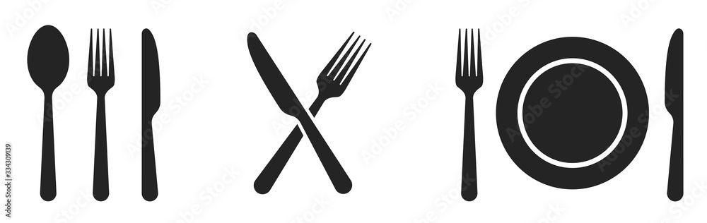 Fotografie, Obraz Fork, knife, spoon and plate set icons