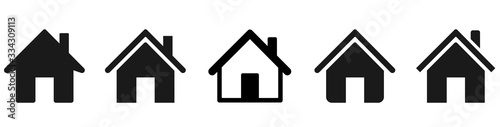 Obraz House icons set. Home icon collection. Real estate. Flat style houses symbols for apps and websites on whitr background - stock vector. - fototapety do salonu