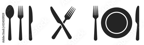 Fork, knife, spoon and plate set icons Billede på lærred