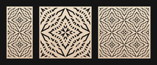 Laser Cut Pattern. Vector Stencil With Abstract Geometric Grid, Ornament In Asian Style. Decorative Template For Laser Cutting Panel Of Wood, Paper, Metal, Acryl, Plastic. Aspect Ratio 1:1, 1:2