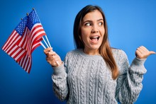 Young Patriotic Woman Holding ...