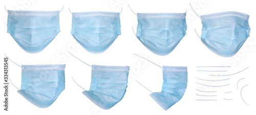 Set of medical mask or surgical ear loop mask isolated on white background with clipping path Wallpaper Mural
